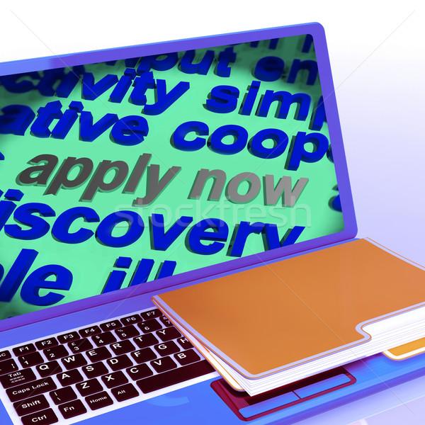 Apply Now Word Cloud Laptop Shows Work Job Applications Stock photo © stuartmiles