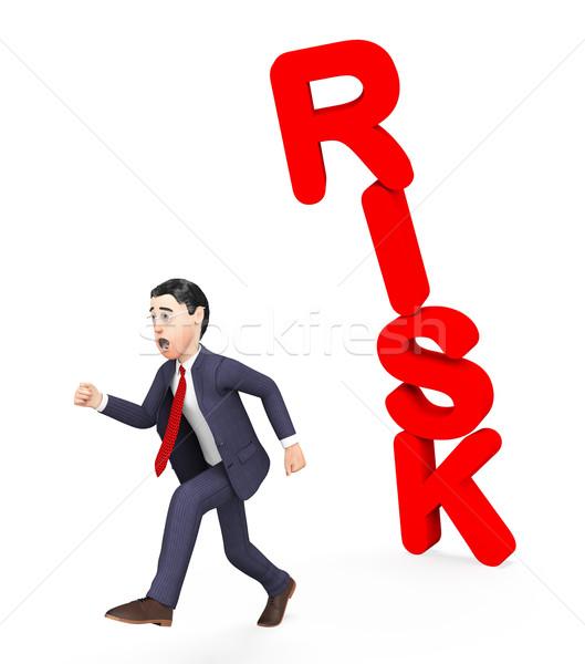 Businessman Avoiding Risk Indicates Unsteady Danger And Problems Stock photo © stuartmiles