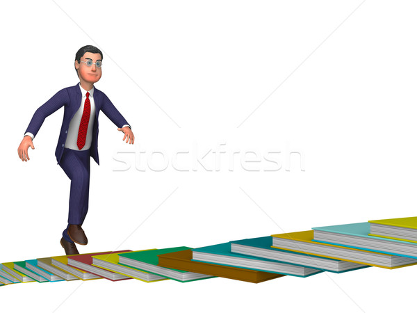 Businessman Going Up Means Stair Staircase And Ascending Stock photo © stuartmiles