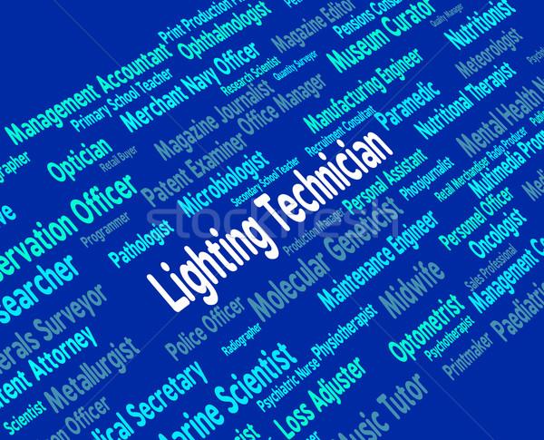 Verlichting technicus geschoold werknemer betekenis tekst Stockfoto © stuartmiles