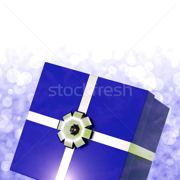 Blue Giftbox With Bokeh Background For Mens Birthday Stock photo © stuartmiles