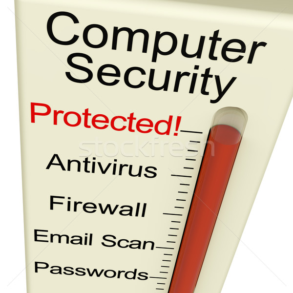 Stock photo: Computer Security Protected Meter Shows Laptop Interet Safety
