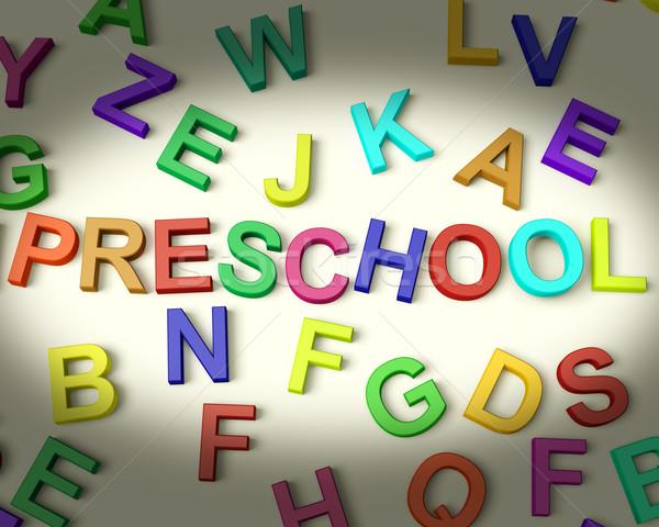 Preschool Written In Plastic Kids Letters Stock photo © stuartmiles