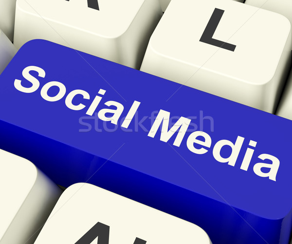 Social Media Computer Key Showing Online Community Stock photo © stuartmiles