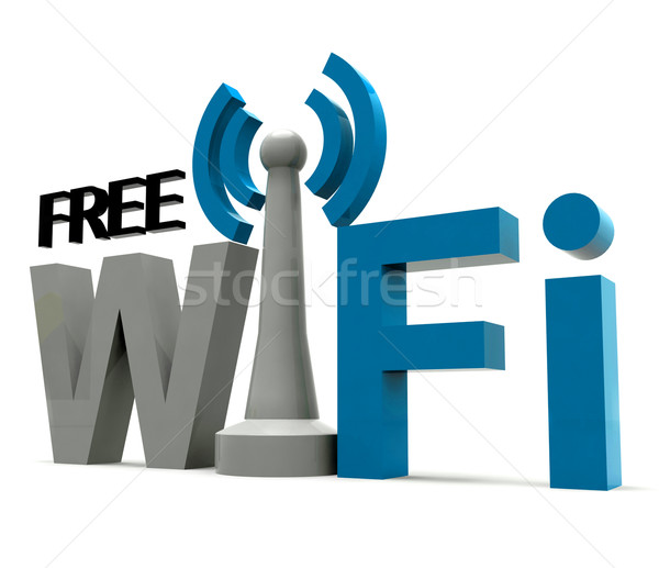Boxed Free Wifi Internet Symbol Shows Coverage Stock photo © stuartmiles