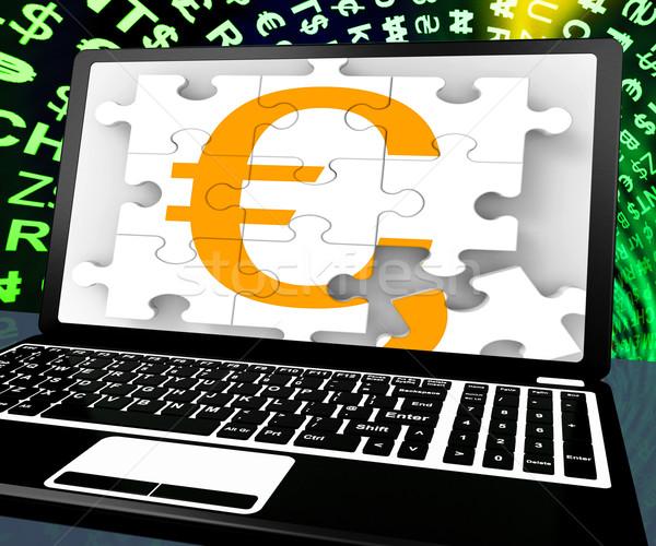 Euro Sign On Laptop Shows Online Money Exchange Stock photo © stuartmiles