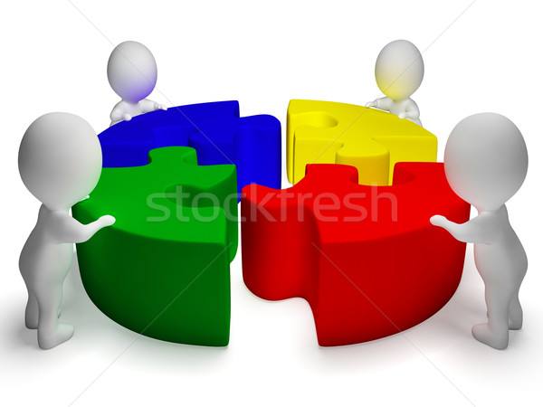 Puzzle Solved And 3d Characters Shows Unity And Cooperation Stock photo © stuartmiles