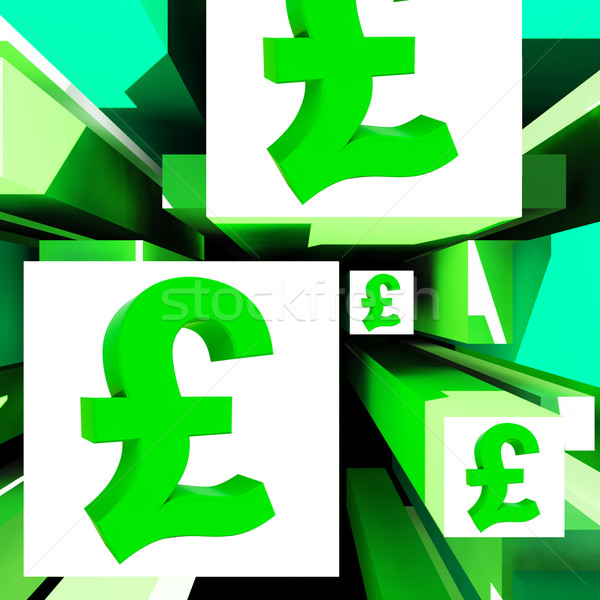 Pound Symbol On Cubes Shows Britain Currency Stock photo © stuartmiles