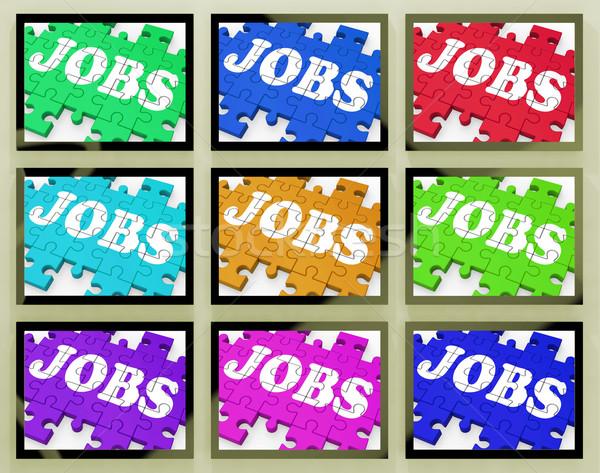 állások dolgozik lehetőségek karrierek képernyő munkás Stock fotó © stuartmiles