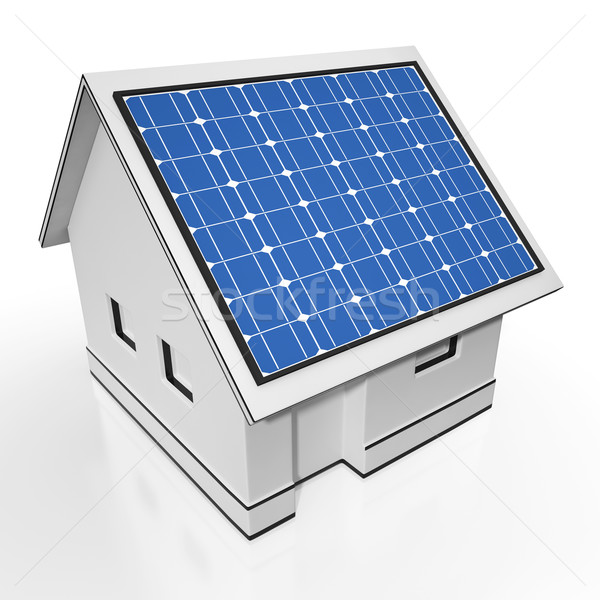 Stock photo: House With Solar Panels Showing Sun Electricity