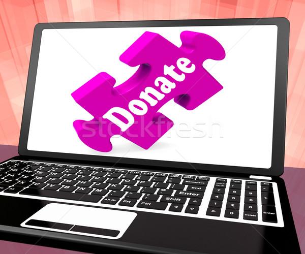 Adományoz laptop jótékonyság adományok adománygyűjtés mutat Stock fotó © stuartmiles