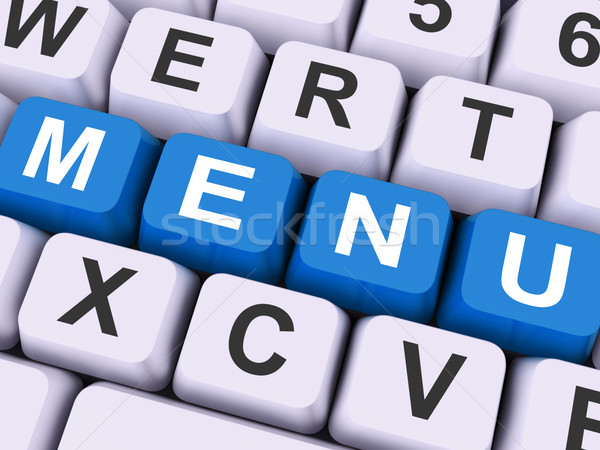 Menu Keys Shows Ordering Food Dishes Online Stock photo © stuartmiles