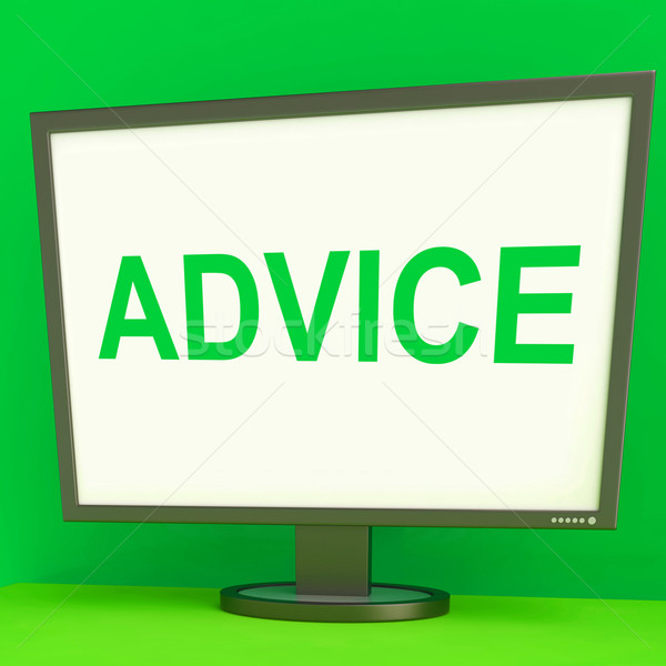 Advice Screen Means Guidance Advise Recommend Or Suggest Stock photo © stuartmiles