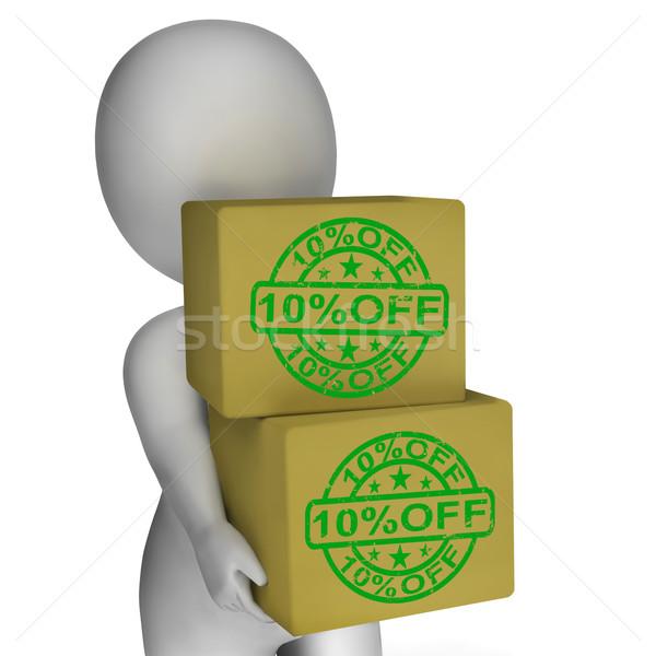 Ten Percent Off Boxes Show 10 Lower Prices Stock photo © stuartmiles