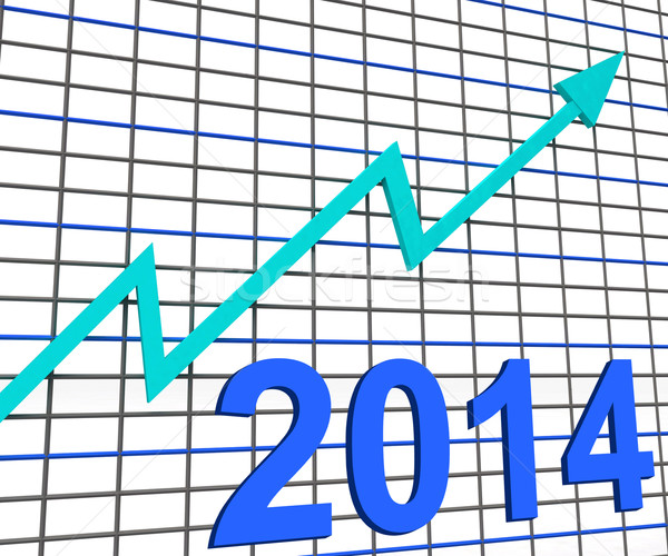 Twenty Fourteen Graph Chart Shows Increase In 2014 Stock photo © stuartmiles