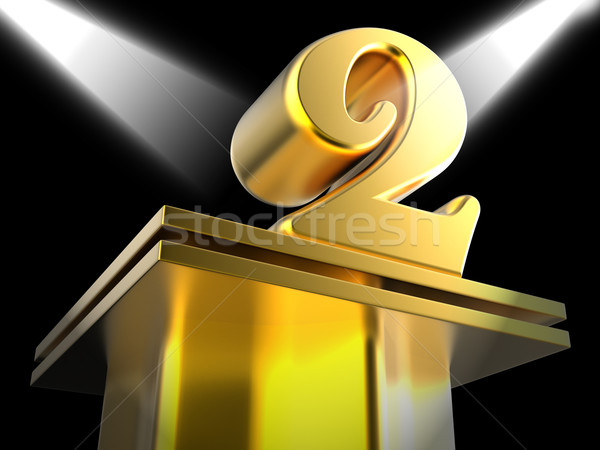 Golden Two On Pedestal Means Recognition And Success Stock photo © stuartmiles