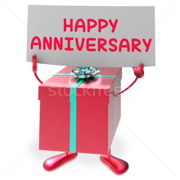 Happy Anniversary Sign and Gift Shows Cheerful Festivities and P Stock photo © stuartmiles