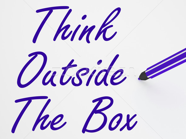 Think Outside The Box On Whiteboard Shows Innovation And Creativ Stock photo © stuartmiles