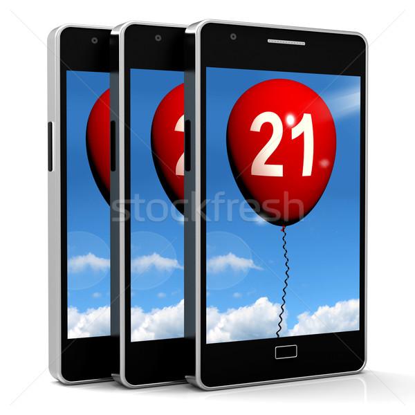 21 Balloon Phone Shows Twenty-first Happy Birthday Celebration Stock photo © stuartmiles