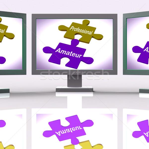 Profi amatőr puzzle online szakértő gyakornok Stock fotó © stuartmiles