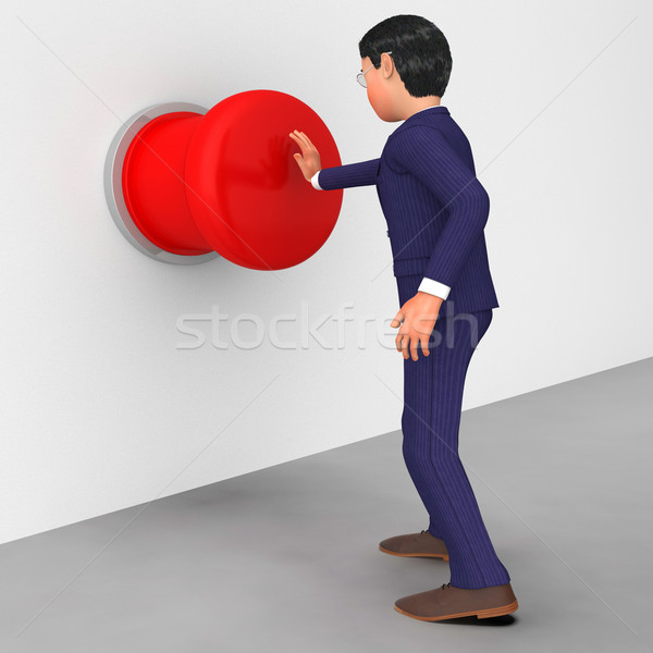 Businessman Pushes Button Indicates Stop Sign And Businessmen Stock photo © stuartmiles