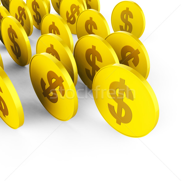 Dollar Coins Means American Dollars And Banking Stock photo © stuartmiles