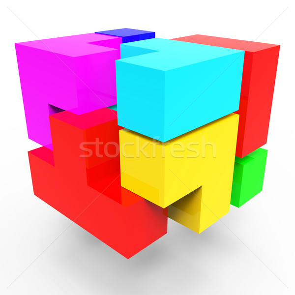 Synergy Blocks Represents Team Work And Connect Stock photo © stuartmiles