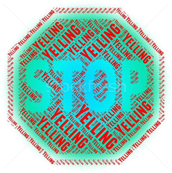 Stock fotó: Stop · kiabál · figyelmeztető · jel · veszély · mutat · sikoly