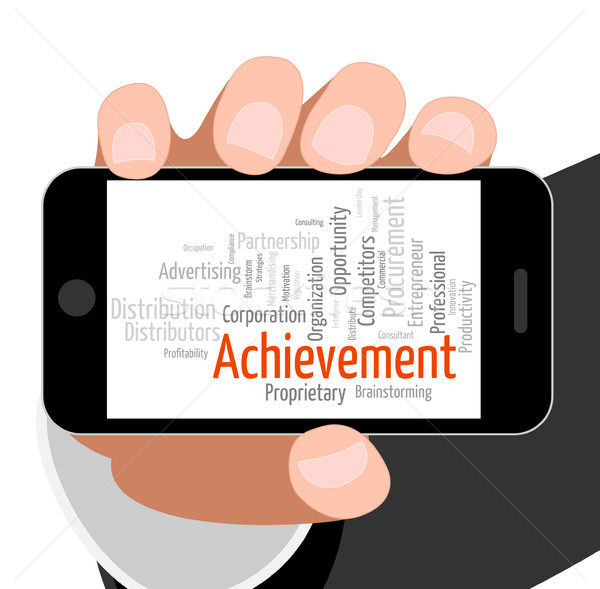 Achievement Word Means Succeed Winner And Wordclouds Stock photo © stuartmiles