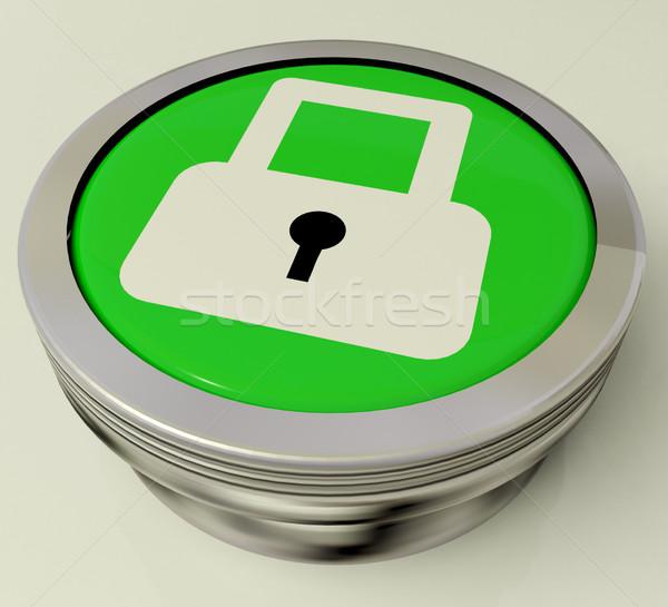 Icona pulsante lucchetto sicurezza accesso Foto d'archivio © stuartmiles