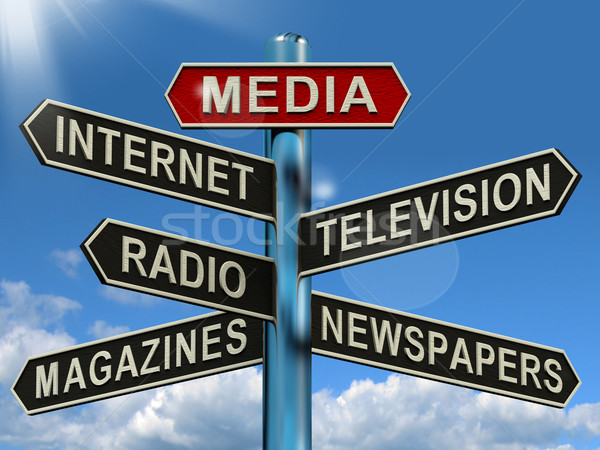 Media Signpost Showing Internet Television Newspapers Magazines Stock photo © stuartmiles