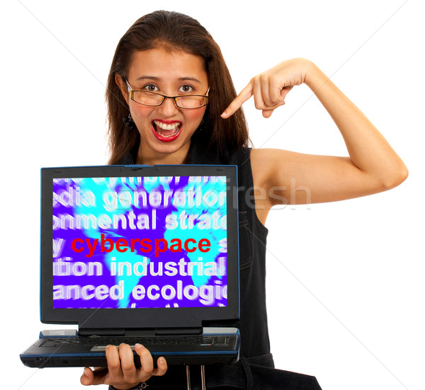 Girl With Cyberspace Screen Showing Internet Stock photo © stuartmiles