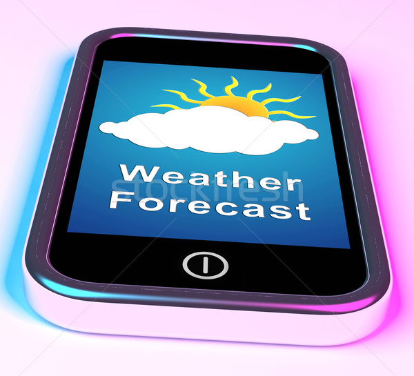 Mobile Phone Shows Cloudy Sun Weather Forecast Stock photo © stuartmiles