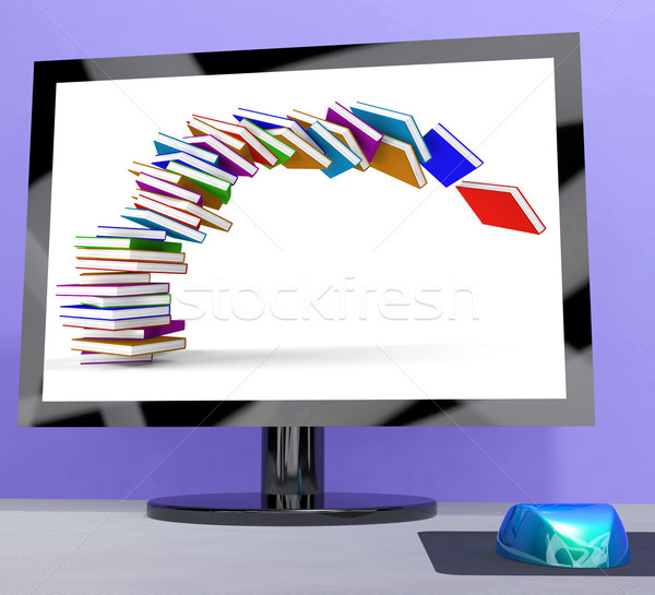 Stack Of Books Falling On Computer Shows Online Learning Stock photo © stuartmiles