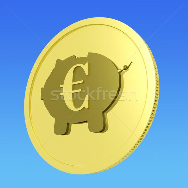 Euro Piggy Coin Shows European Banking Status Stock photo © stuartmiles