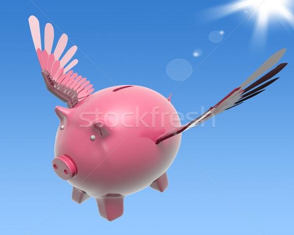 Flying Piggy Shows High Prosperity And Investment Stock photo © stuartmiles