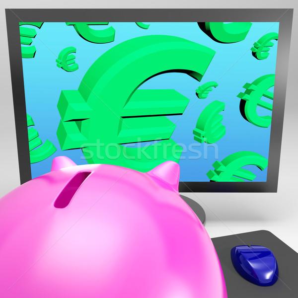 Euro symbolen monitor europese monetair groei Stockfoto © stuartmiles