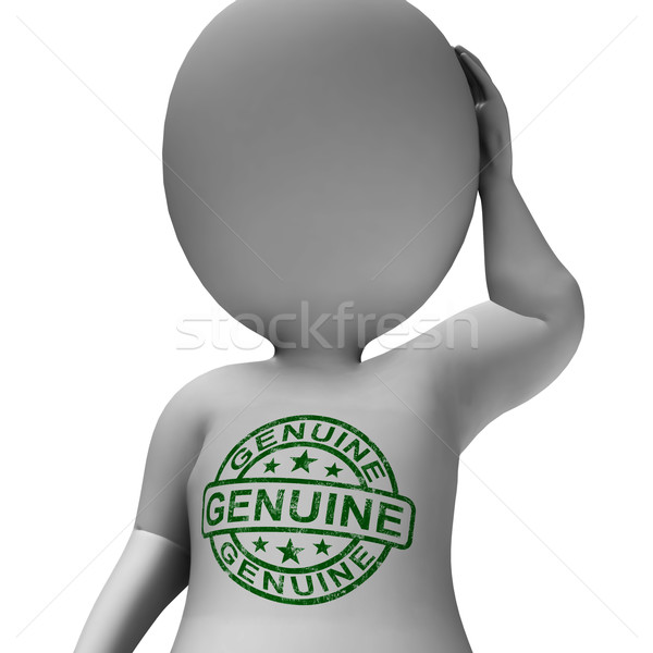 Stock photo: Genuine Stamp On Man Shows Real Certified Product