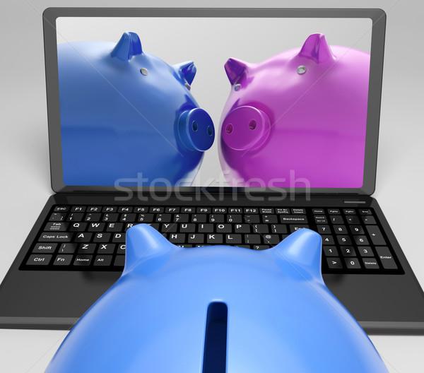 Notebook online internationalen Austausch Geld Stock foto © stuartmiles