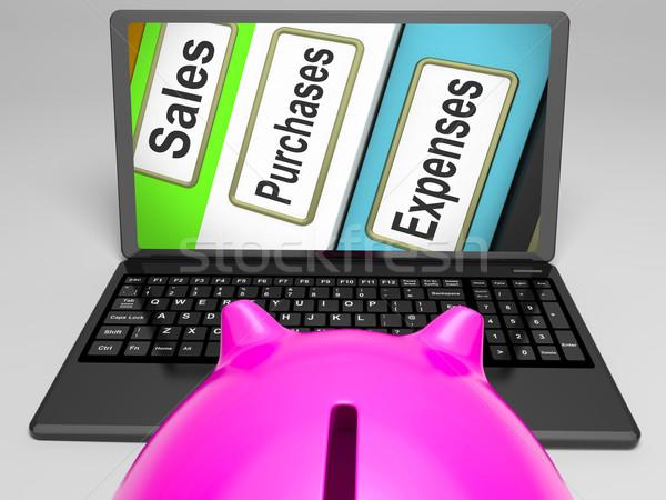 Foto stock: De · vendas · despesas · arquivos · laptop · comércio · negócio