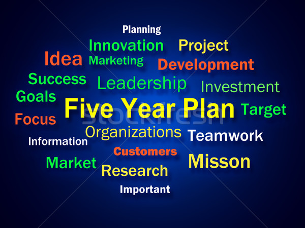 Five Year Plan Brainstorm Means Strategy For Next 5 Years Stock photo © stuartmiles