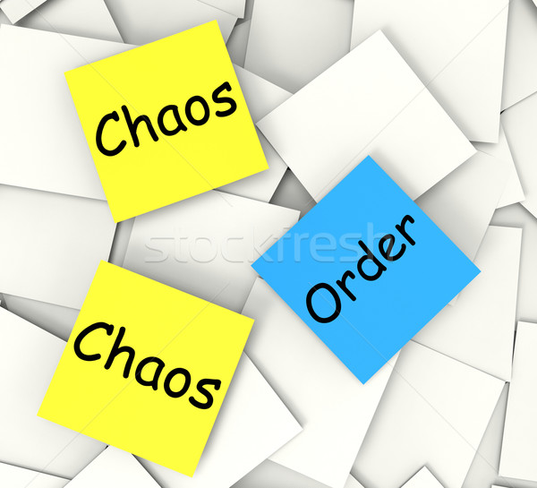 Chaos Order Post-It Notes Show Disorganized Or Ordered Stock photo © stuartmiles