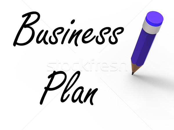 Business Plan with Pencil Shows Written Strategy Vision and Goal Stock photo © stuartmiles