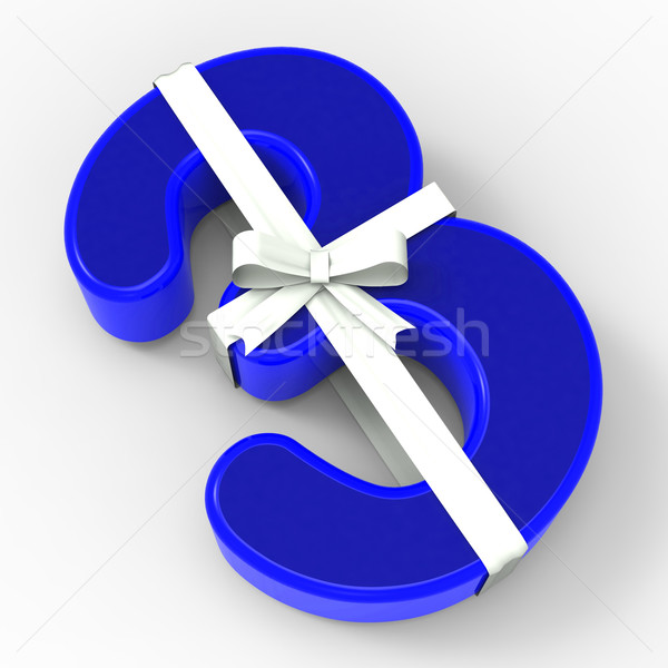 Number Three With Ribbon Means Happiness And Birthday Celebratio Stock photo © stuartmiles