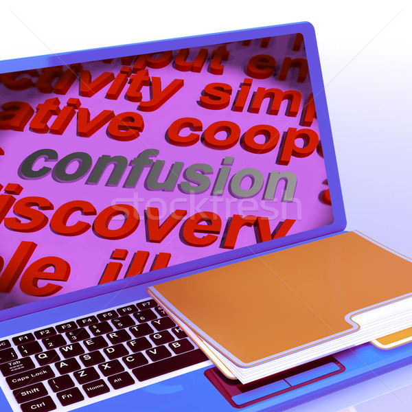 Confusion Word Cloud Laptop Means Confusing Confused Dilemma Stock photo © stuartmiles