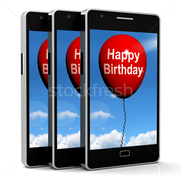 Happy Birthday Balloon Shows Cheerful Festivities and Parties Stock photo © stuartmiles