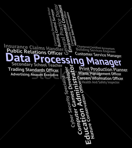 Data Processing Manager Means Hire Work And Occupation Stock photo © stuartmiles