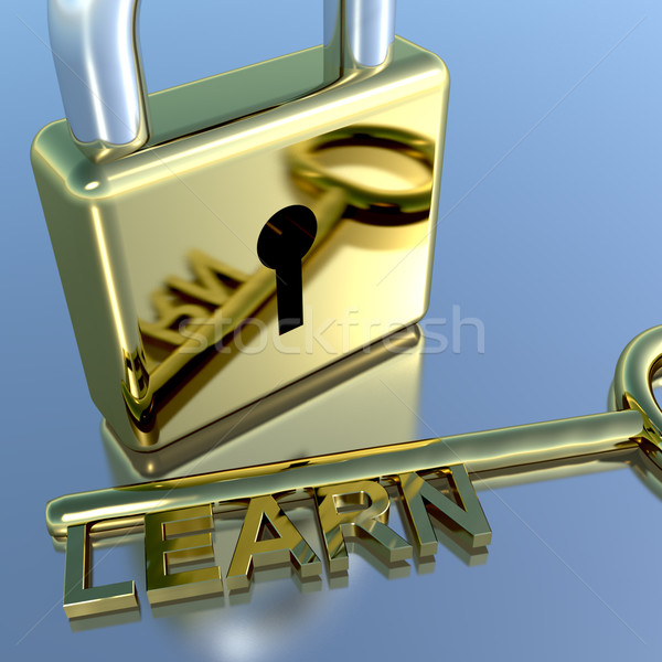 Stock photo: Padlock With Learn Key Showing Education Learning And Courses