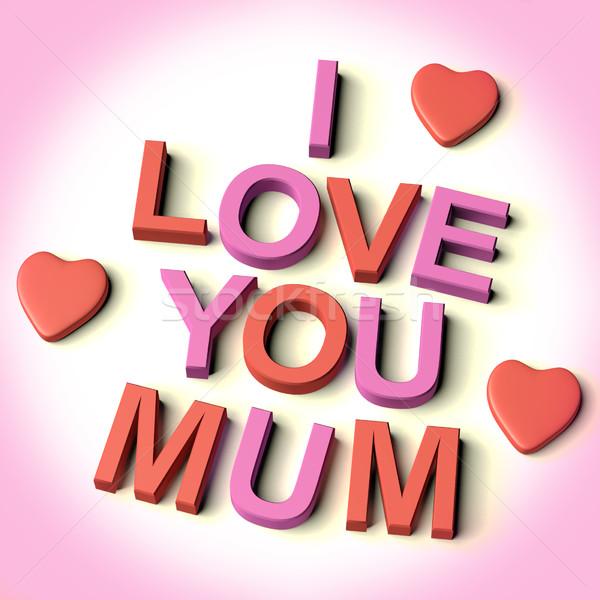 Harfler yazım sevmek anne kalpler simge Stok fotoğraf © stuartmiles