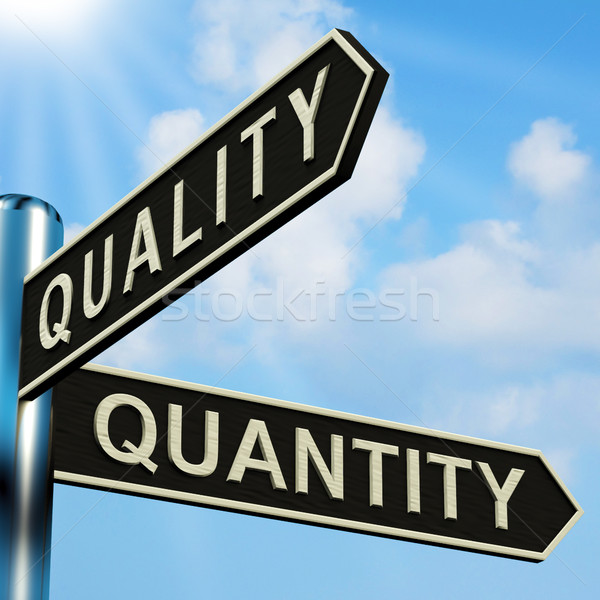 Quality Or Quantity Directions On A Signpost Stock photo © stuartmiles